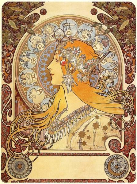 Alphonse Mucha Painting - Zodiak 1896 by Philip Ralley