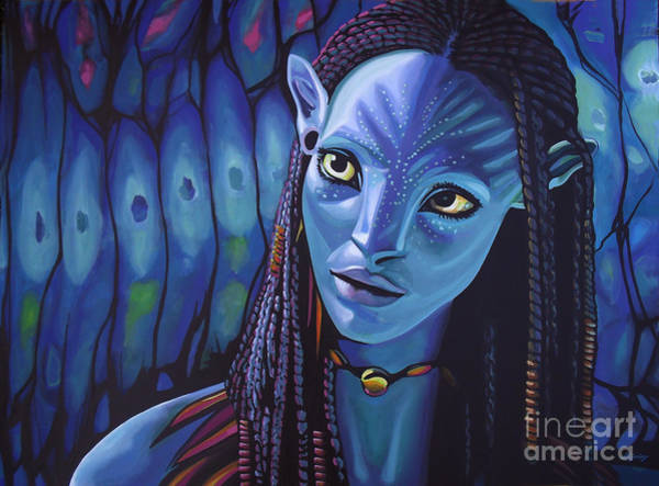 Wall Art - Painting - Zoe Saldana As Neytiri In Avatar by Paul Meijering