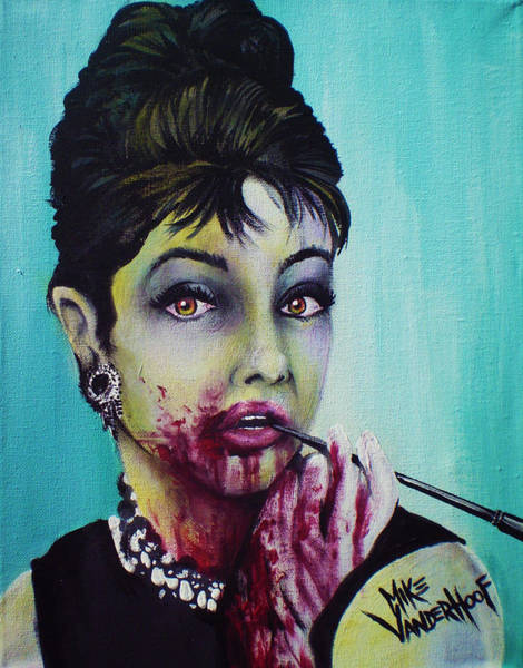 The Walking Dead Painting - Zombie Audrey Hepburn by Mike Vanderhoof