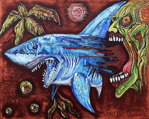 White Zombie Painting - Zombie Eats Shark by Laura Barbosa
