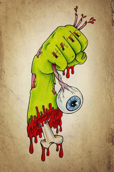 Tattoo Drawing - Zombie Hatred by Samuel Whitton