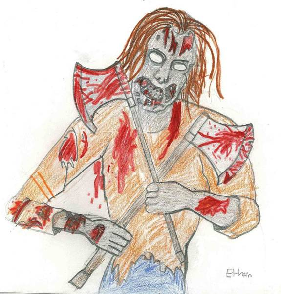 Drawing - Zombie Horror by Fred Hanna