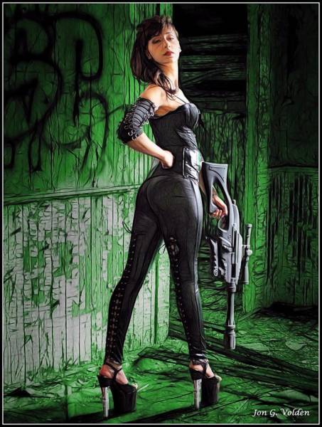 Painting - Zombie Hunter Dressed In Black by Jon Volden