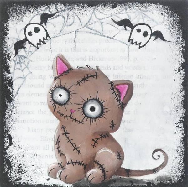 Zombie Cat Painting - Zombie Kittie by Oddball Art Co by Lizzy Love