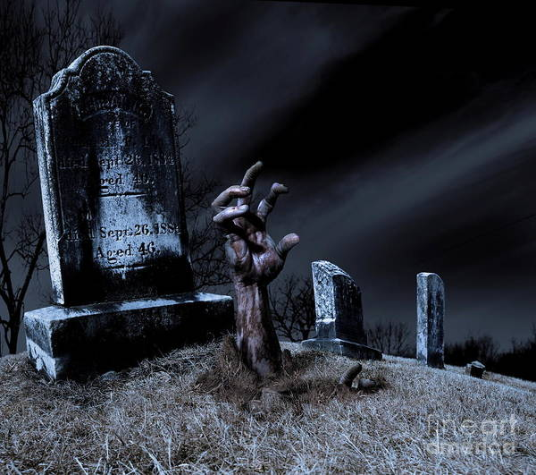 The Walking Dead Wall Art - Photograph - Zombie Rising From The Grave by Diane Diederich