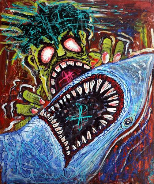 White Zombie Painting - Zombie Shark Fight by Laura Barbosa