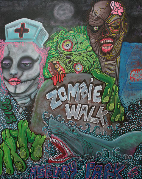 Wall Art - Painting - Zombie Walk by Laura Barbosa