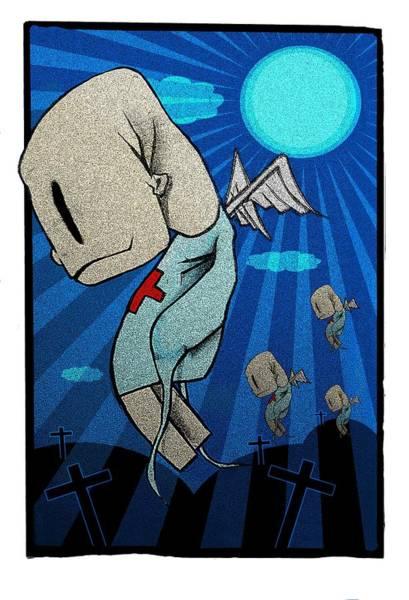 Light Blue Drawing - Zombies by Johan Lilja