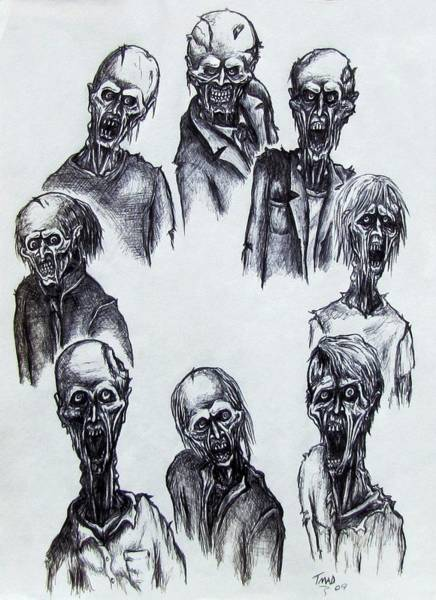Drawing - Zombies by Michael  TMAD Finney