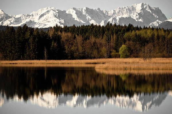 Lakeshore Photograph - Zugspitze by Michael Fellner