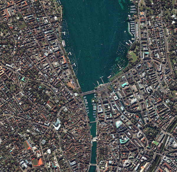 City Centre Photograph - Zurich by Geoeye/science Photo Library