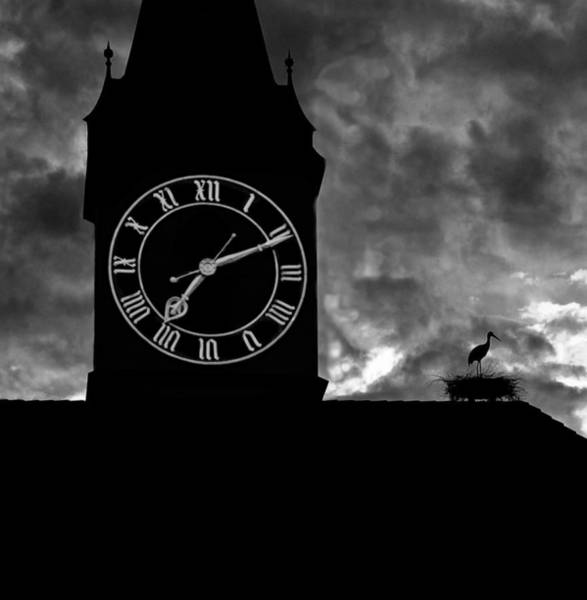 Photograph - Zurich St Peter's Church Clock Tower And Art Sculpture by Ginger Wakem