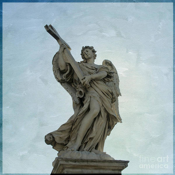 Wall Art - Photograph -  Angel With Cross. Ponte Sant'angelo. Rome by Bernard Jaubert