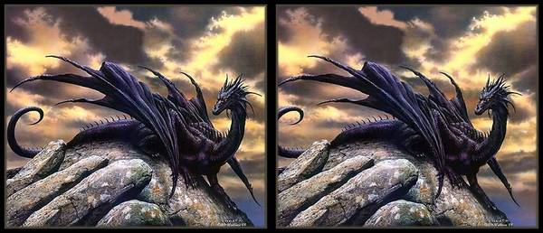 Stereoscopy Digital Art -  Black Dragon - Gently Cross Your Eyes And Focus On The Middle Image by Brian Wallace