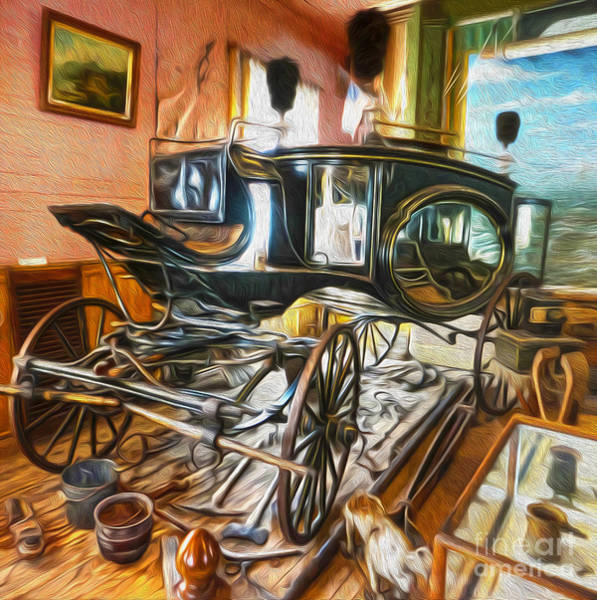 Painting -  Bodie Ghost Town - Funeral Carriage by Gregory Dyer