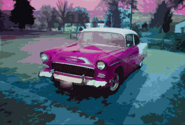 1955 Chevy Digital Art -  Chevy Bel Air In Wenatchee by Casey Park
