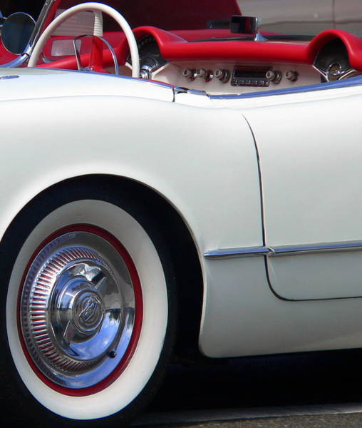 Photograph -  Classic White Corvette by Jeff Lowe