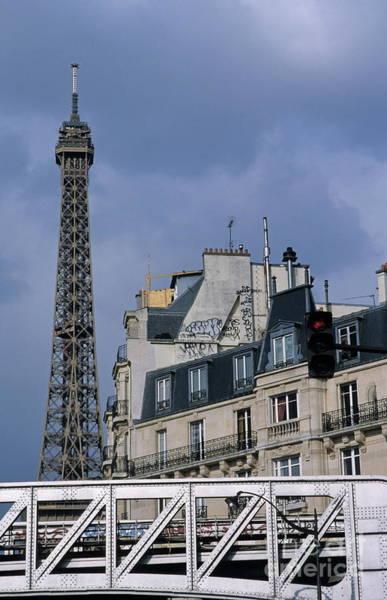 Wall Art - Photograph -  Eiffel Tower Behind Metro Train Bridge by Sami Sarkis