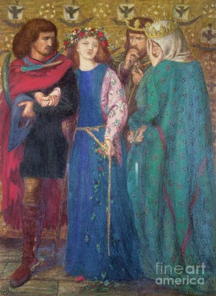 Ophelia Painting -  Horatio Discovering The Madness Of Ophelia  by Dante Charles Gabriel Rossetti