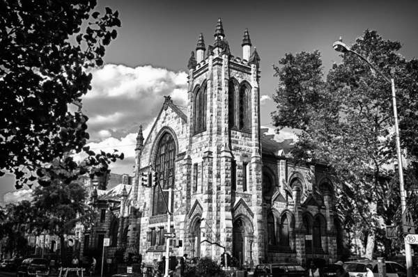 Photograph -  Park Slope Church In Bandw by Val Black Russian Tourchin