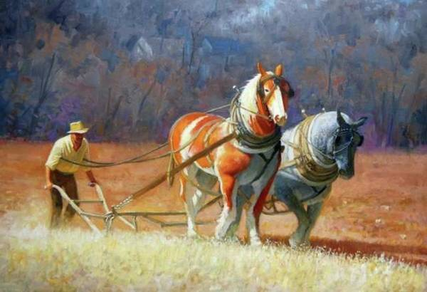 Painting -  Plowing Time by Mel Greifinger