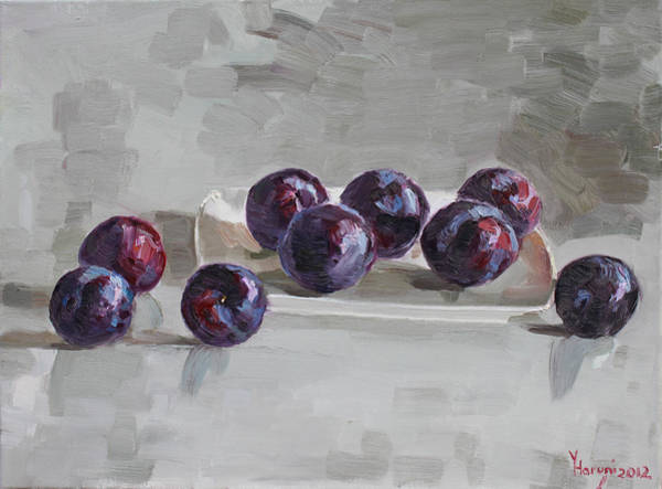 Plate Painting -  Plums by Ylli Haruni