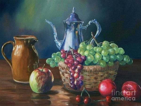 Plums Painting -  Silver by John Clark