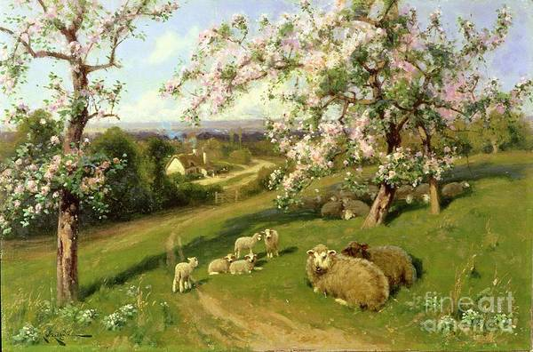 Sun Set Painting -  Spring - One Of A Set Of The Four Seasons  by Arthur Walker Redgate