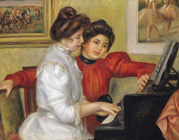 Grand Piano Painting -  Yvonne And Christine Lerolle At The Piano by Pierre Auguste Renoir