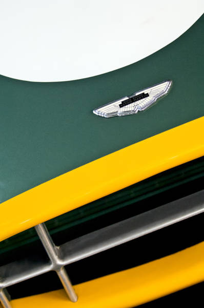 Auto Show Photograph - 1993 Aston Martin Dbr2 Recreation Hood Emblem by Jill Reger