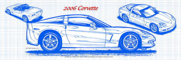 Digital Art - 2006 Corvette Blueprint Series by K Scott Teeters