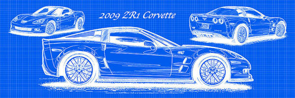 Digital Art - 2009 C6 Zr1 Corvette Blueprint by K Scott Teeters