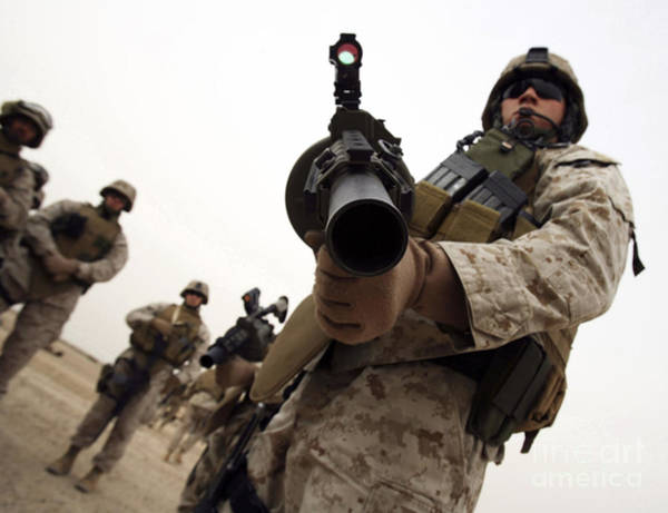 Grenade Launcher Wall Art - Photograph - A Marine Holds The M-32 Multiple Shot by Stocktrek Images
