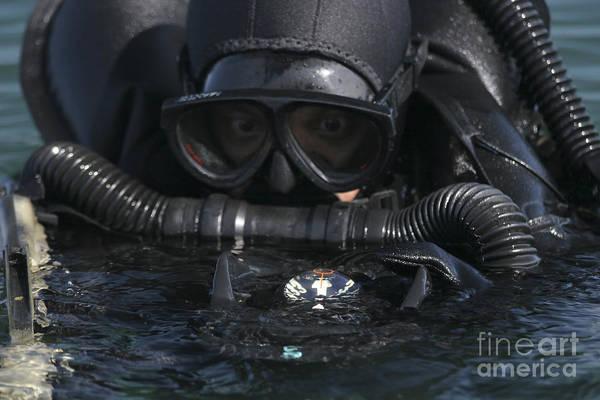 Special Operations Forces Photograph - A Navy Seal Combat Swimmer by Michael Wood