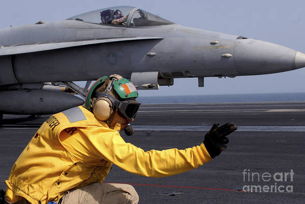 Flight Deck Photograph - A Shooter Launches An Fa-18e Super by Stocktrek Images