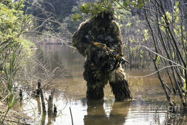 Photograph - A Sniper Dressed In A Ghillie Suit by Stocktrek Images