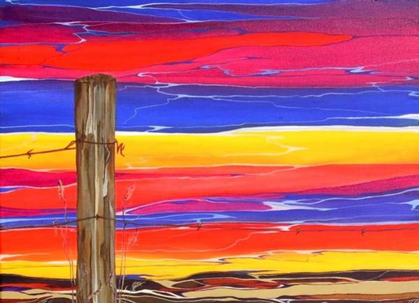 Fencepost Painting - Abandoned by Pat Purdy