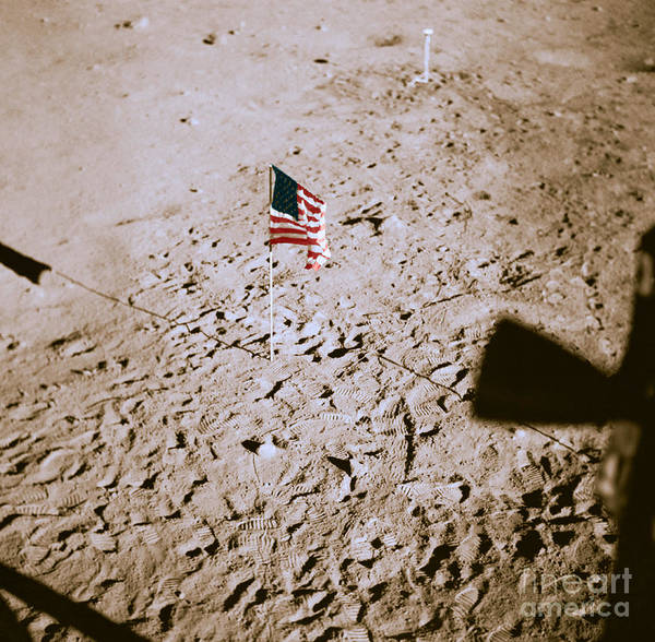 Photograph - American Flag On The Moon, 1969 by NASA and Science Source