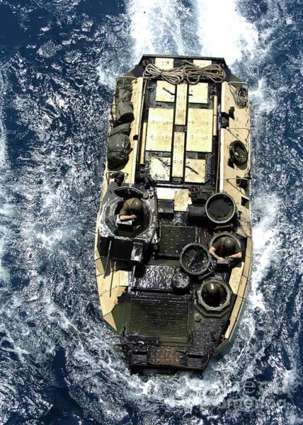 Aav Photograph - An Amphibious Assault Vehicle Navigates by Stocktrek Images