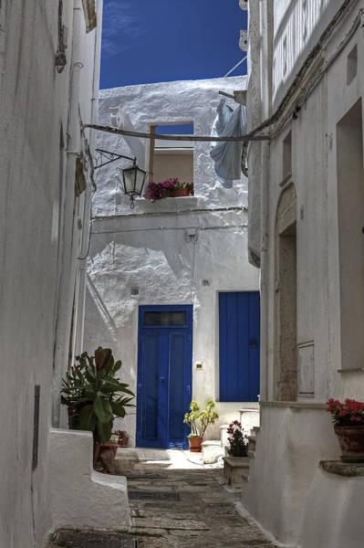Clothesline Photograph - Apulia - Blue-white by Joana Kruse
