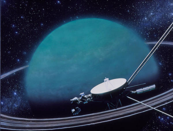 Flyby Photograph - Artwork Showing Voyager 2's Encounter With Uranus by Julian Baum