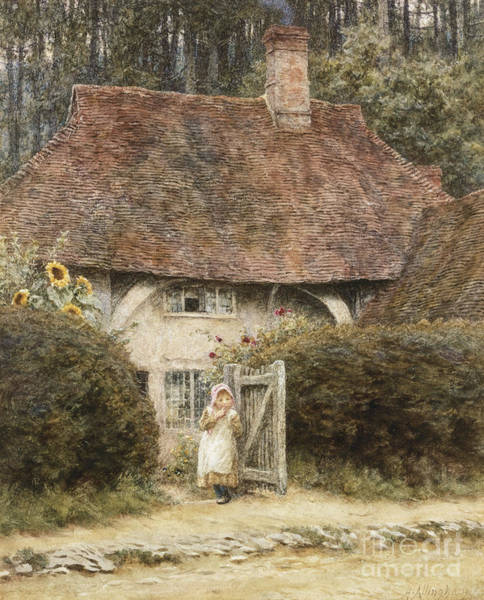 Gateway Painting - At The Cottage Gate by Helen Allingham