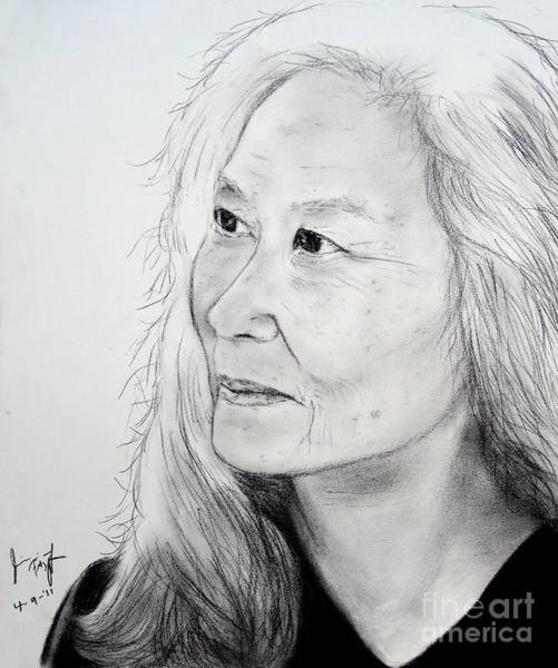 Freckle Drawing - Author And Activist Maxine Hong Kingston by Jim Fitzpatrick