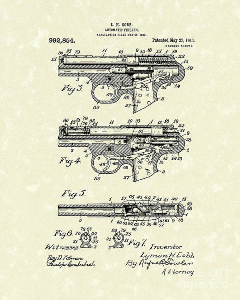 Drawing - Automatic Firearm 1911 Patent Art by Prior Art Design