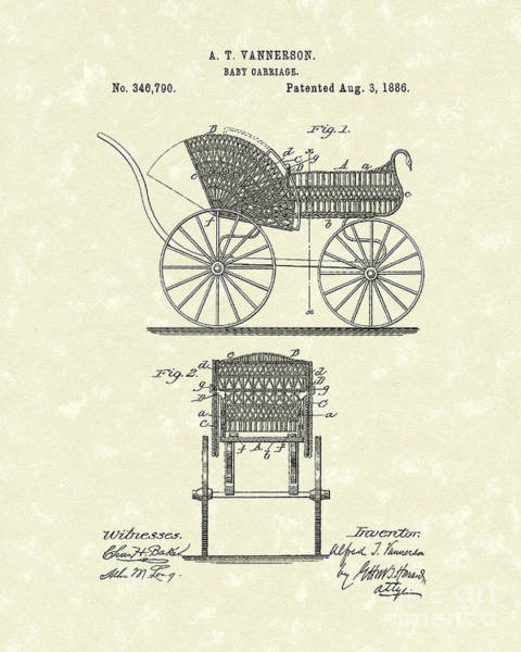 Photograph - Baby Carriage 1886 Patent Art by Prior Art Design