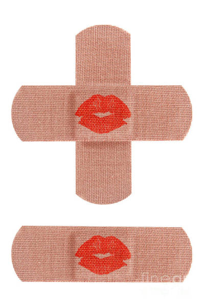 Bandage Photograph - Bandages With Kiss by Blink Images