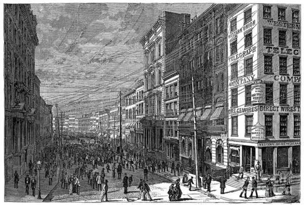 Broad Street Run Photograph - Bank Panic, 1873 by Granger