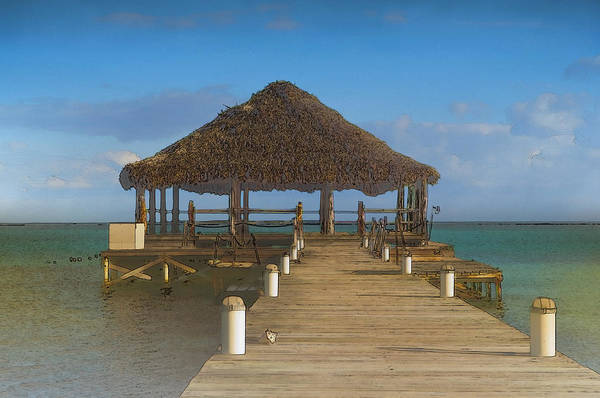 Digital Art - Beach Deck With Palapa Floating In The Water by Brandon Bourdages