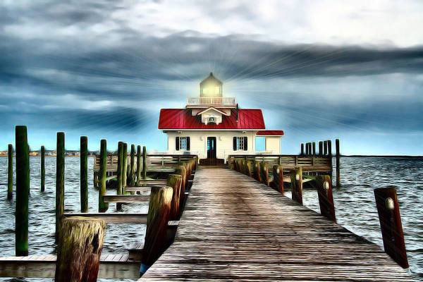 Roanoke Marshes Light Wall Art - Photograph - Beacon Of Light by Nadine Lewis