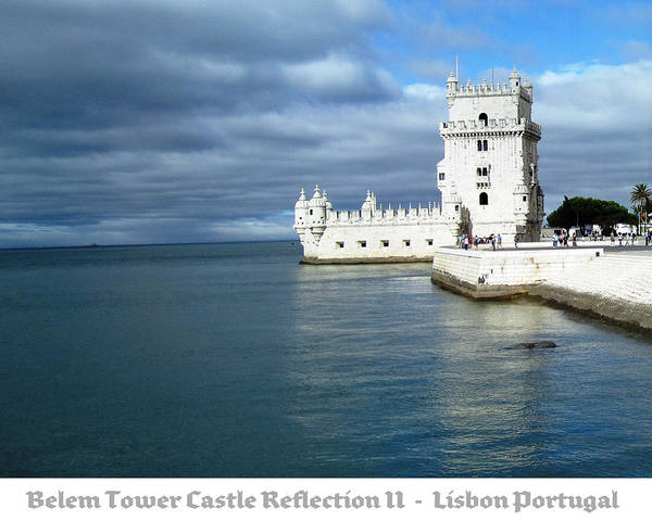 Photograph - Belem Tower Castle Reflection II Lisbon Portugal by John Shiron